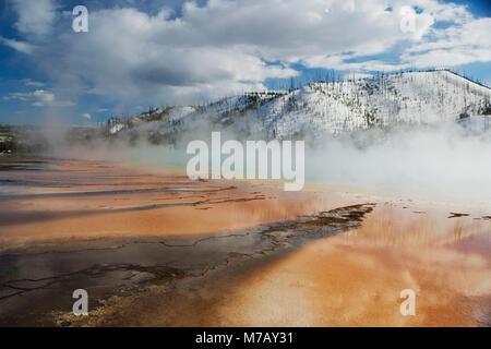 Dampf aus einer Thermalquelle, Grand Bildobjekte Frühling, Yellowstone-Nationalpark, Wyoming, USA - Stockfoto