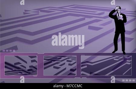 Geschäftsmann, stehend auf einem Labyrinth suchen verwirrt - Stockfoto