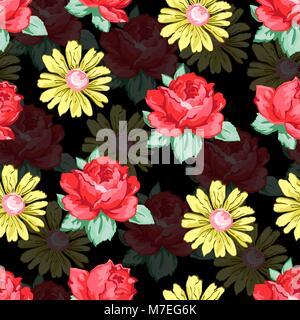 Blume hand Zeichnung nahtlose Muster, Vektor floral background, floraler Stickerei Verzierung. Gezeichnet Knospen - Stockfoto
