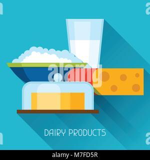 Abbildung mit Milchprodukten in flachen Design Stil - Stockfoto