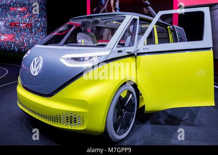 ID Buzz Microbus, Volkswagen, VW-Camper, Minibus, Automobilsalon Genf, Schweiz - Stockfoto
