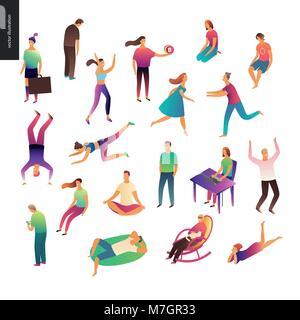 Der Vektor dargestellt Menschen handeln und Entspannend - Stockfoto