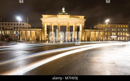 Bei Nacht Brandenburger Tor in Berlin, Deutschland - Stockfoto