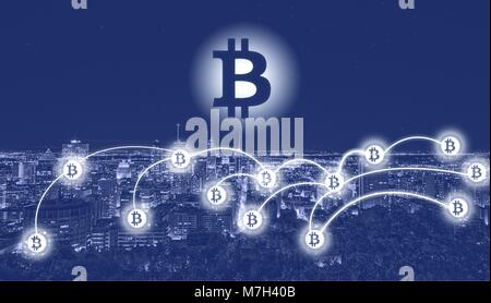 Bitcoin und blockchain Technologie Konzept. Bitcoin Zeichen auf Stadt Hintergrund - Montreal. Bitcoin Netzwerk mit - Stockfoto