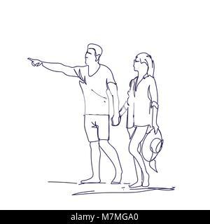 Skizze Paar Hände halten Doodle Mann und Frau über weißen Hintergrund - Stockfoto