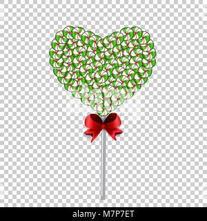 Grün und Weiß lolipop Herz aus Süßigkeiten und Bonbons und mit roter Schleife auf transparentem Hintergrund begrenzt. - Stockfoto