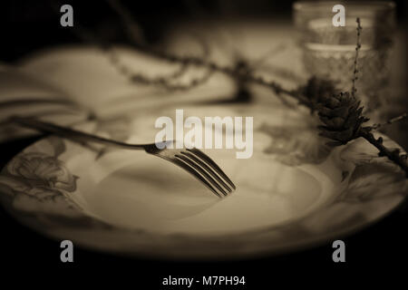 Getönten Gabel in der Platte Schwarzweiß - Stockfoto