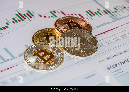 Cryptocurrency Münzen über Handel Graphic Screen Bitcoin Des