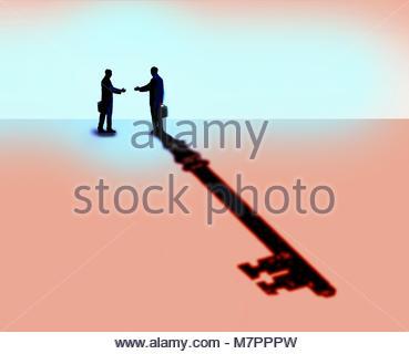 Menschen die Hände schütteln mit Geschäftsmann casting Schlüssel Schatten - Stockfoto