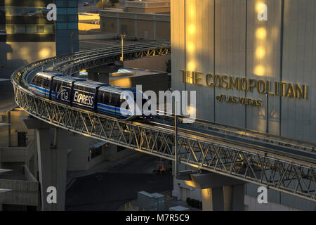 Aria Express Monorail Straßenbahn, Las Vegas, Nevada, USA - Stockfoto