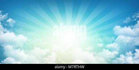 Himmlischen Himmel, Sonne bricht durch weiße Wolken mit Lichtstrahlen - Stockfoto