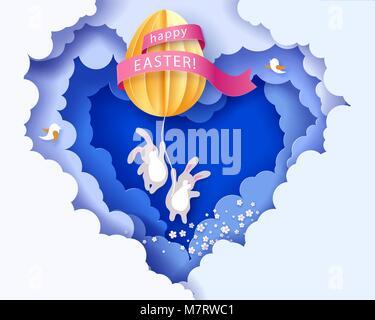 Frohe Ostern Karte mit banny, Blumen und Ei - Stockfoto