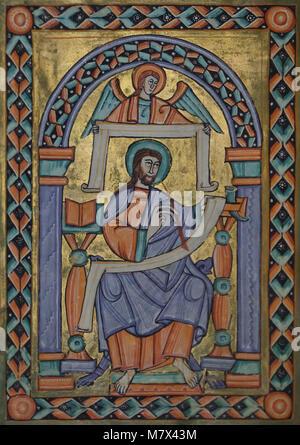 Der hl. Matthäus der Evangelist in der mittelalterlichen Bilderhandschrift bekannt als Evangelistář svatovítský - Stockfoto