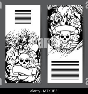 Banner mit retro Tattoo Symbole. Cartoon old school Abbildung - Stockfoto