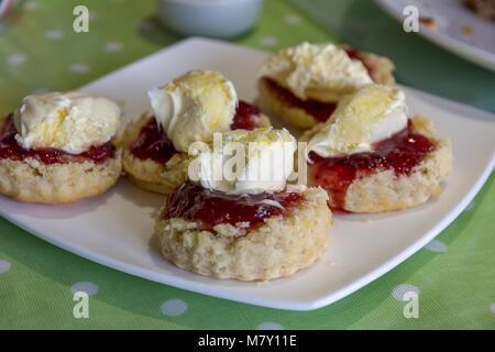 Cornish Cream Tea Scones. Traditionell cream tea Scones in Cornwall sind auf Ein kornisches Split serviert, ein - Stockfoto