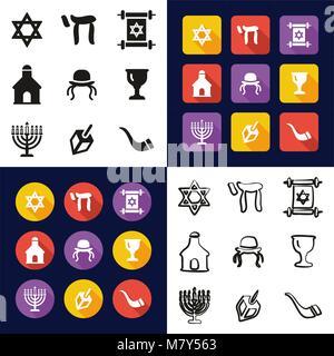 Das Judentum in einem Symbole Schwarzweiß Farbe flaches Design Freehand eingestellt - Stockfoto