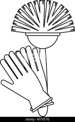 Sanitär Bürste mit Handschuhen Vector Illustration Design - Stockfoto