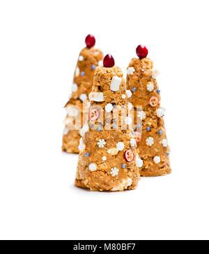 Weihnachtsbaum Cookies auf weißem Hintergrund - Stockfoto