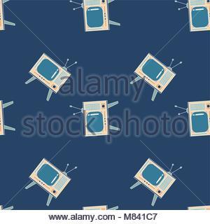 Nahtlose Muster mit einer Art TV. Alte und retro Fernsehen. Tief blauen Hintergrund. Geometrische Linie. - Stockfoto