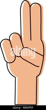 Hand mit zwei Fingern auf weißem Hintergrund, Vector Illustration - Stockfoto