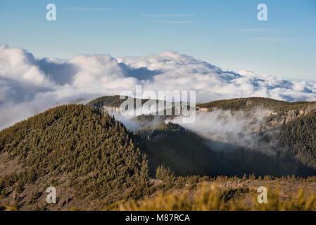 Meer der Wolken in der vulkanischen Landschaft der Nationalpark Teide, Teneriffa, Kanarische Inseln, Spanien. - Stockfoto