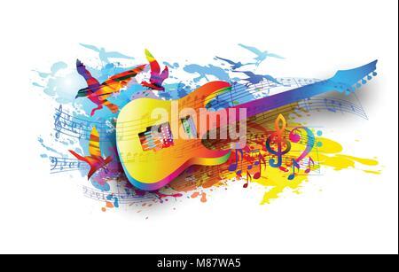Bunte Musik Hintergrund mit Gitarre und Musik Noten Vektor Abbildung ...