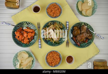Flach essen Fotografie mit traditionelle chinesische Gerichte - Stockfoto