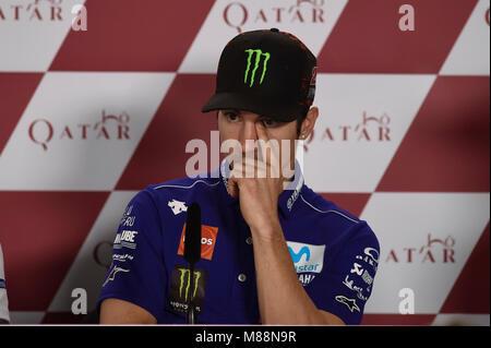 Lusail, Katar. 15 Mär, 2018. Maverick Vinales Katar Motorrad Grand Prix, Ankünfte und Pressekonferenz auf dem Losail - Stockfoto