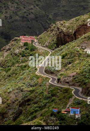 Afur, Erhöhte Ansicht, Anaga ländlichen Park, Teneriffa, Kanarische Inseln, Spanien - Stockfoto