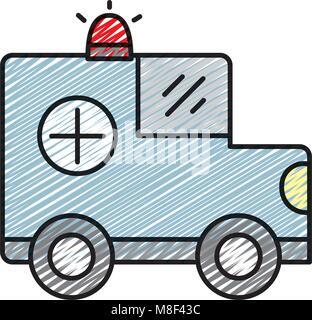 Doodle Auto bank mit Sirene, um Geld zu sparen - Stockfoto
