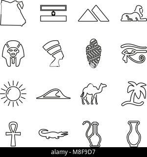 Ägypten Land & Kultur Symbole dünne Linie Vektor Abbildung - Stockfoto