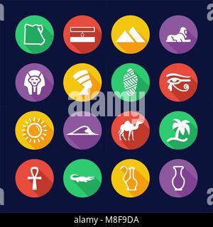 Ägypten Symbole flache Design Kreis - Stockfoto