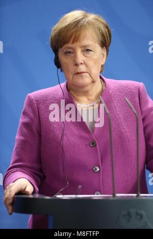Berlin, Deutschland. 16 Mär, 2018. Das Foto zeigt die Bundeskanzlerin Angela Merkel bei der Pressekonferenz im Bundeskanzleramt - Stockfoto