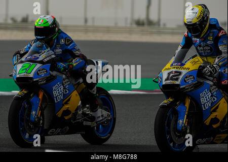 Lusail, Katar. 17 Mär, 2018. Franco Morbidelli & Thomas Luthi Katar Motorrad Grand Prix, qualifizierender Tag in - Stockfoto