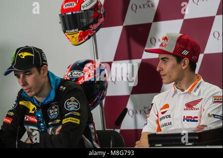 Lusail, Katar. 17 Mär, 2018. Alex & Marc Marquez Katar Motorrad Grand Prix, qualifizierender Tag in Losail International - Stockfoto