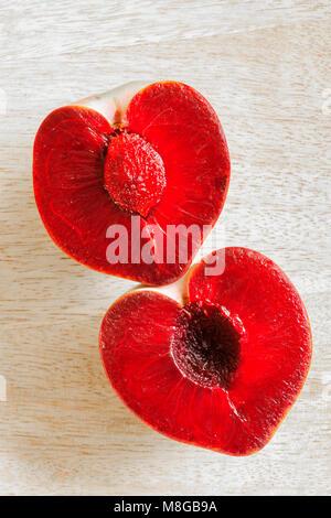 Wassermelone Pflaumen eine außergewöhnliche Vielfalt mit rotem Fleisch und grüne Haut in Israel entwickelt, die - Stockfoto