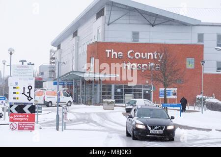 Hereford, Herefordshire, UK-März 2018 - Schwere Schnee verursacht Störung an der County Hospital in Hereford - Foto - Stockfoto