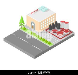 Isometrische home. Die Fabrik mit Lagertanks. Straße, grüne Büsche vor dem Haus. Vector Illustration isometrische Stil.