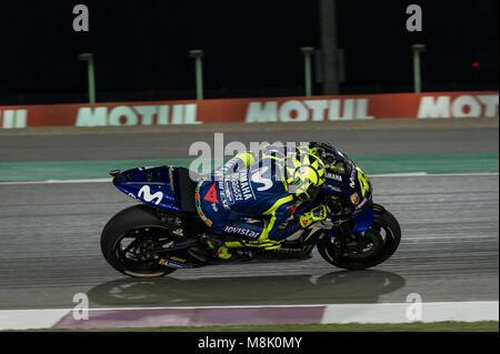 Lusail, Katar. 18 Mär, 2018. Valentino Rossi in Katar Motorrad Grand Prix, Race Day in Losail International Circuit, - Stockfoto