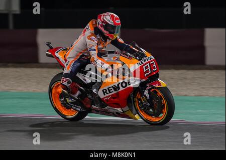 Lusail, Katar. 18 Mär, 2018. Marc Marquez Katar Motorrad Grand Prix, Race Day in Losail International Circuit, Lusail, - Stockfoto