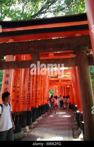 Touristen, die die Tausenden von Vermilion torii Gates in Fushimi Inari Schrein, Kyoto, Japan. Fushimi Inari Schrein - Stockfoto