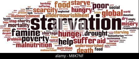 Hunger word cloud Konzept. Vector Illustration - Stockfoto