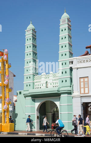 Eingang zum Masjid Jamae (chulia) Moschee, South Bridge Road, Chinatown, Outram District, Central Area, Singapur - Stockfoto