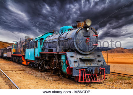 Lok Zug in Wadi Rum Wüste, Jordanien. - Stockfoto