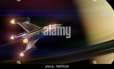 Raumschiff im Orbit des Planeten Saturn (3D-Illustration, Elemente dieses Bild von der NASA eingerichtet sind). - Stockfoto