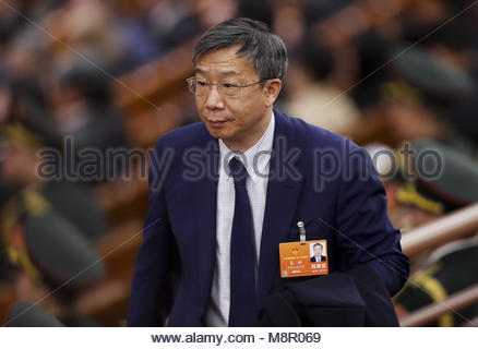 Peking, China. 19 Mär, 2018. Yi Gang nehmen der Präsident der Bank von China in Peking, China, am 19. März 2018. - Stockfoto