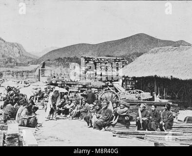 Einweihung der Eisenbahn durch die Frankreich zwischen Hanoi und China im Jahr 1900 wurde, Bild aus der Französischen - Stockfoto