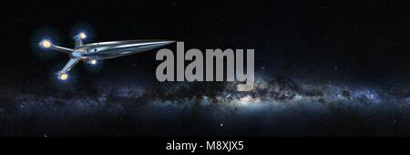 Raumschiff vor der Milchstraße (3D-rendering Banner, Elemente dieses Bild von der NASA eingerichtet sind). - Stockfoto