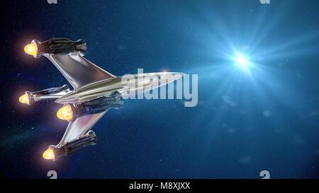 Raumschiff vor der Sterne, Rakete in den Weltraum (3d-science fiction Rendern) - Stockfoto