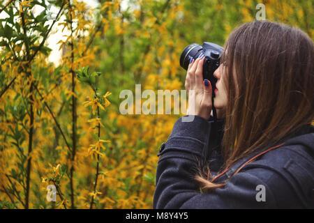 Mädchen Fotografieren von Blumen der blühenden Baum - Stockfoto